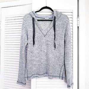 Splendid Grey Knit Hooded Hoodie Top M